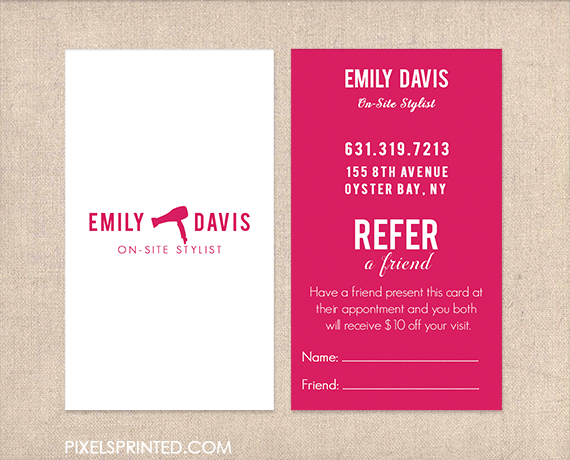 hairstylist referral cards hair salon referral cards