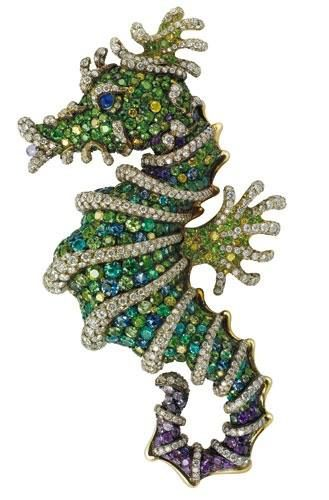 Faberge's seahorse brooch, set with yellow and violet diamonds, demantoids, alexandrites, paraibas, tsarovites and violet sapphires in 18c. gold.