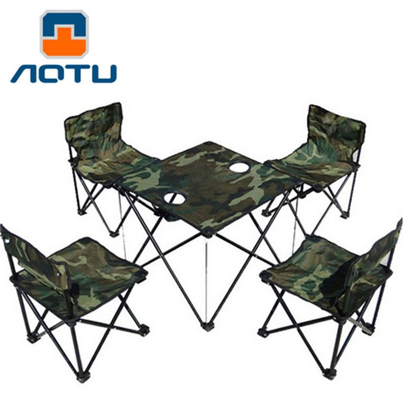 4 Chairs 1 Table Camouflage Outdoor Ultralight Portable Folding Tables And  Chairs Fishing Chair Camping Picnic