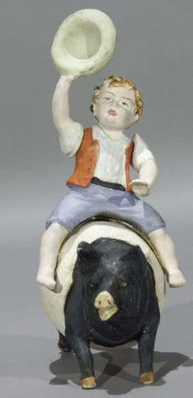 Old~Boy Riding Pig Candy Container