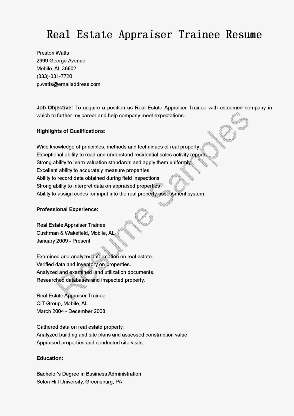 real estate appraiser trainee resume sample