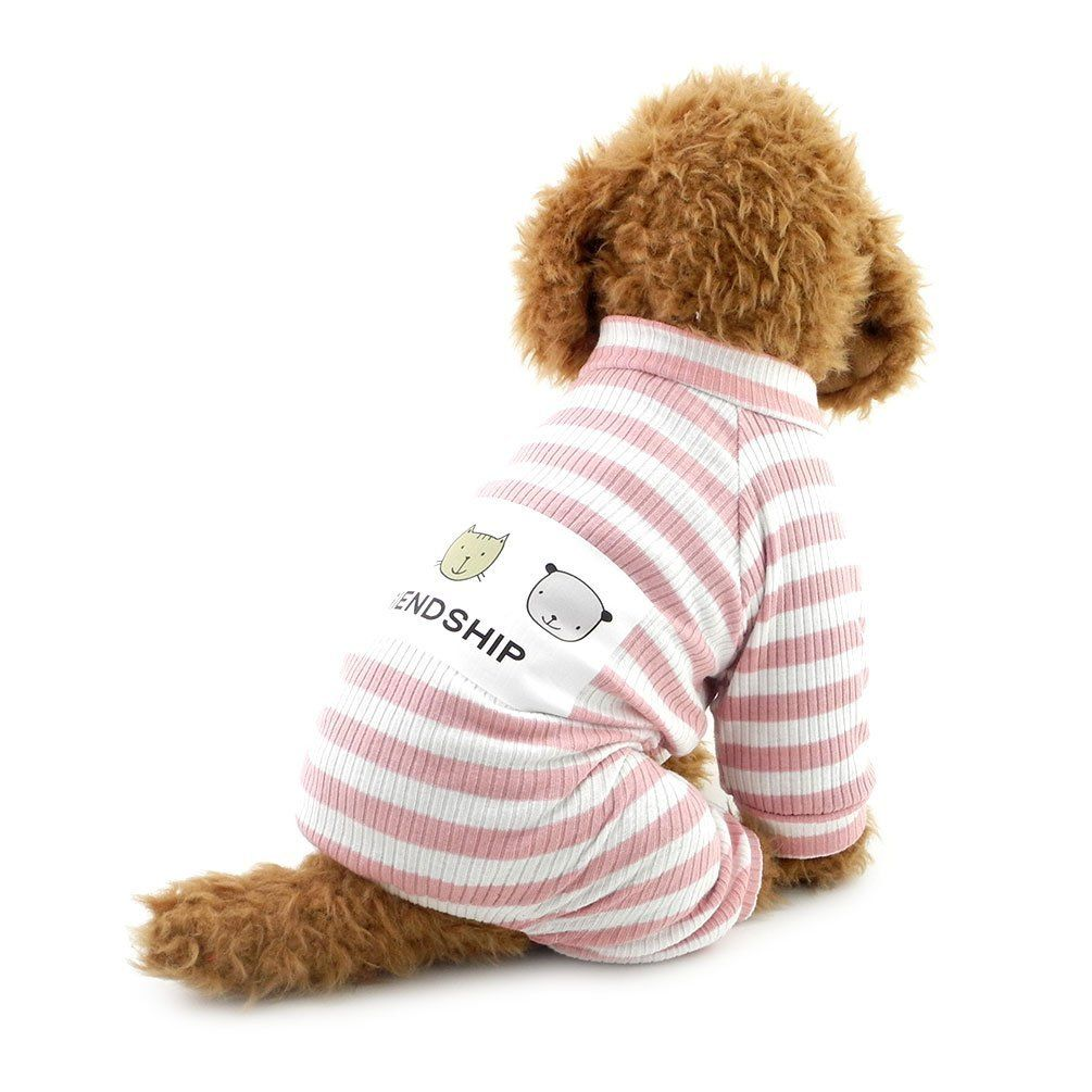 Smalllee Lucky Store Puppy Outfits With White Stripe Pet Jumpsuit