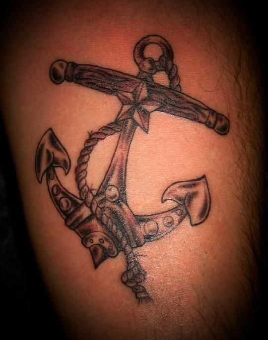 anchor-with-rope-and-nautical-star-tattoo.jpg (540×686) | ink ...