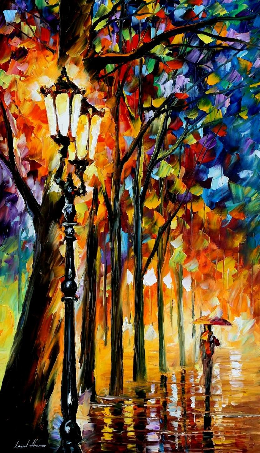 THE SOUL OF THE PARK - PALETTE KNIFE Oil Painting On Canvas By Leonid Afremov…