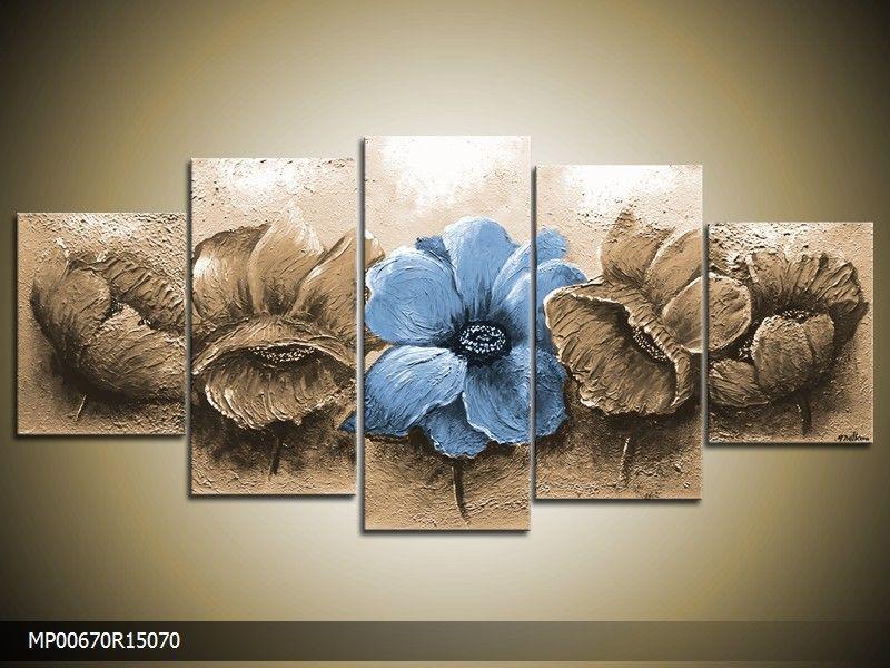 Acrylverf schilderij Woonkamer | Kleur: Blauw , Bruin | MP00670 ...