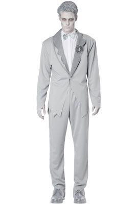 Mens Zombie Ghastly Ghost Groom Wedding Suit Fancy Dress Costume Black Outfit