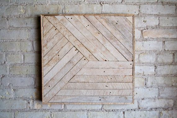 Reclaimed Wood Wall Art, Decor, Lath, Pattern, Geometric, Monochromatic, 24x24 #reclaimedwoodwallart