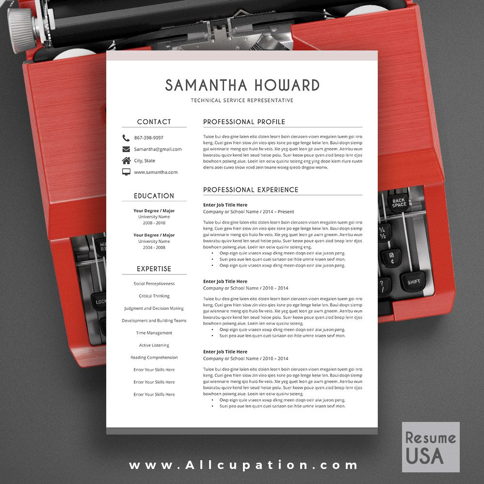 allcupation Creative Resume Template, Modern CV Template, Word ...
