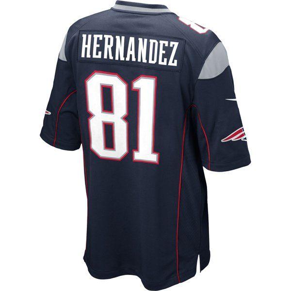 Nike Aaron Hernandez #81 Game Jersey-Navy