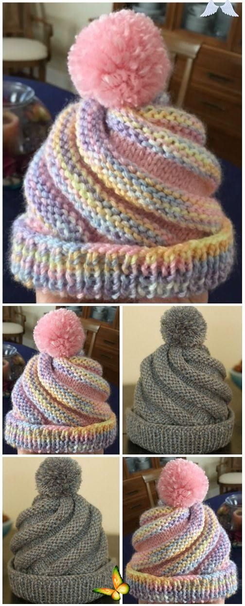 SWIRLED HAT FREE PATTERN 3.5 ozs. 4-ply worsted-weight ...