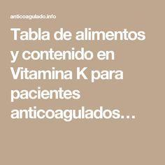 Alimentos ricos en vitamina k sintrom