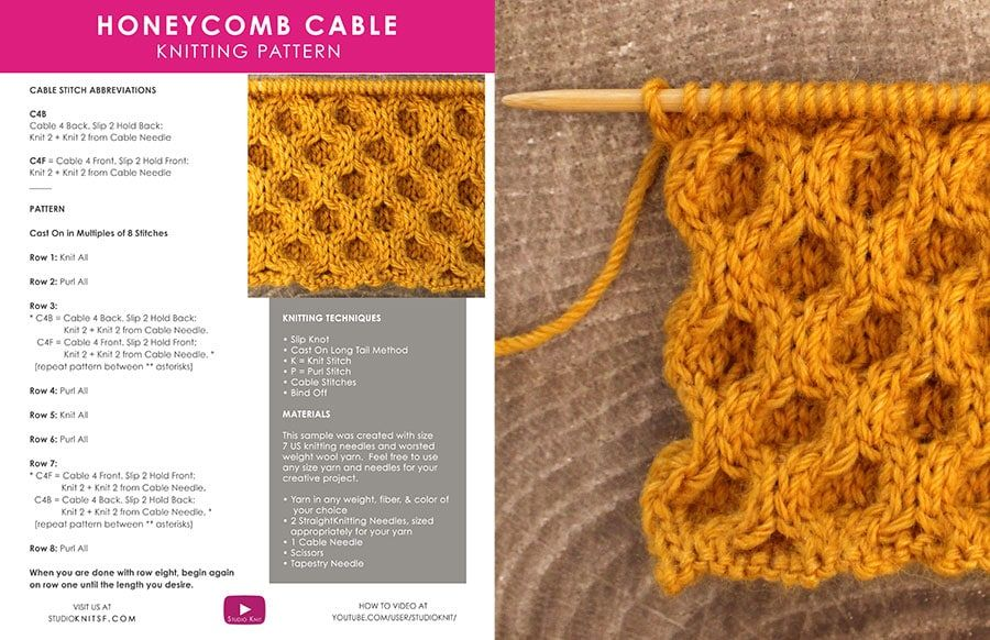 How to Knit the Honeycomb Cable Stitch by Studio Knit ...