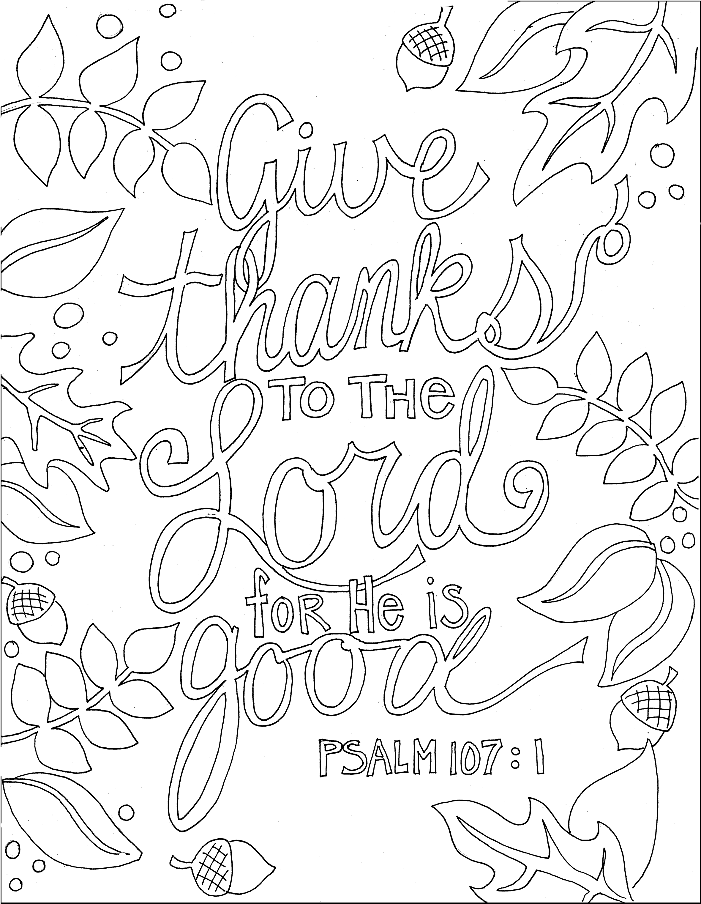 Ps 107.1 and many other printable Bible verse coloring pages | Adult ...