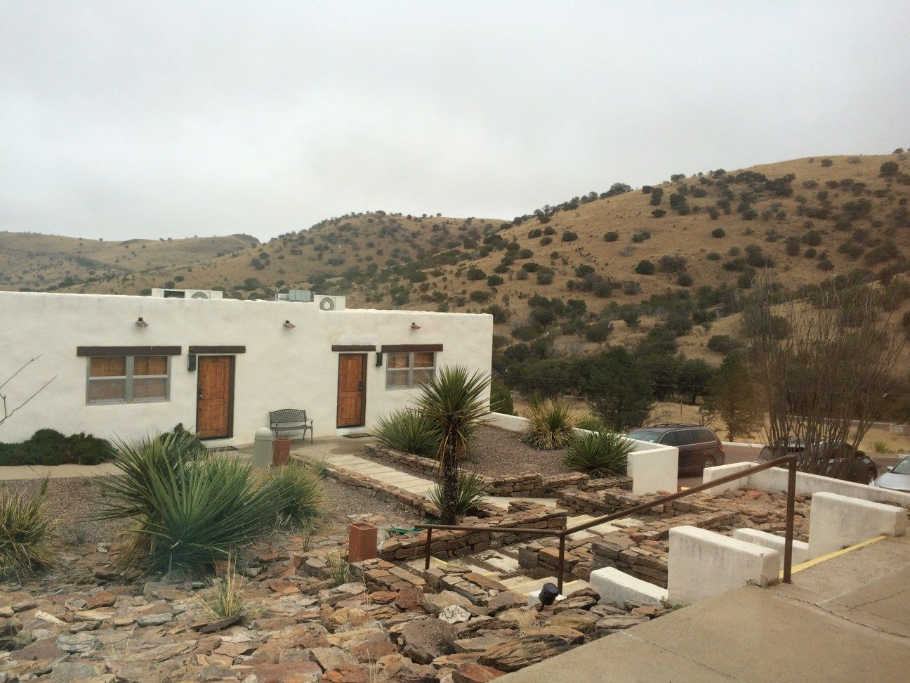 The Indian Lodge is located in the Davis Mountains State Park. CCC, Fort Davis, Texas, southwestern hotel,