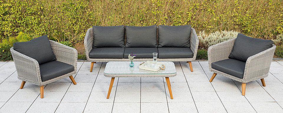 MERXX Loungeset »Toscanella«, 14-tlg, 2 Sessel, 3er-Bank, Tisch - gartenmobel polyrattan eckbank