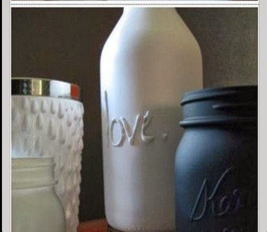 embossed and painted jars and bottles! Pretty! www.roomcandy101.blogspot.com