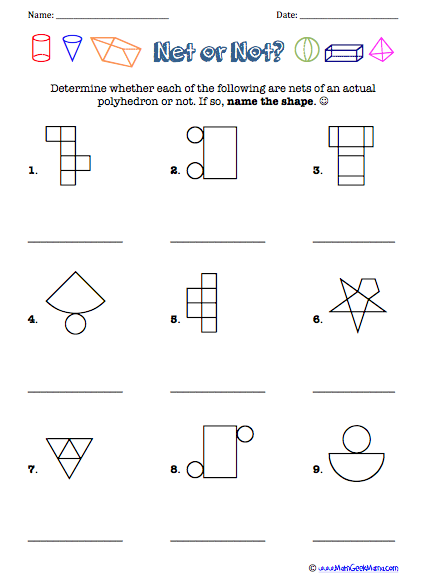 Worksheet 3d Figures With Their Names And Nets test your knowledge of 3d shapes and their nets pinterest shapes
