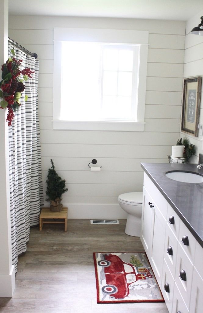 shiplap on a bathroom wall that s painted in alabaster sw. Black Bedroom Furniture Sets. Home Design Ideas