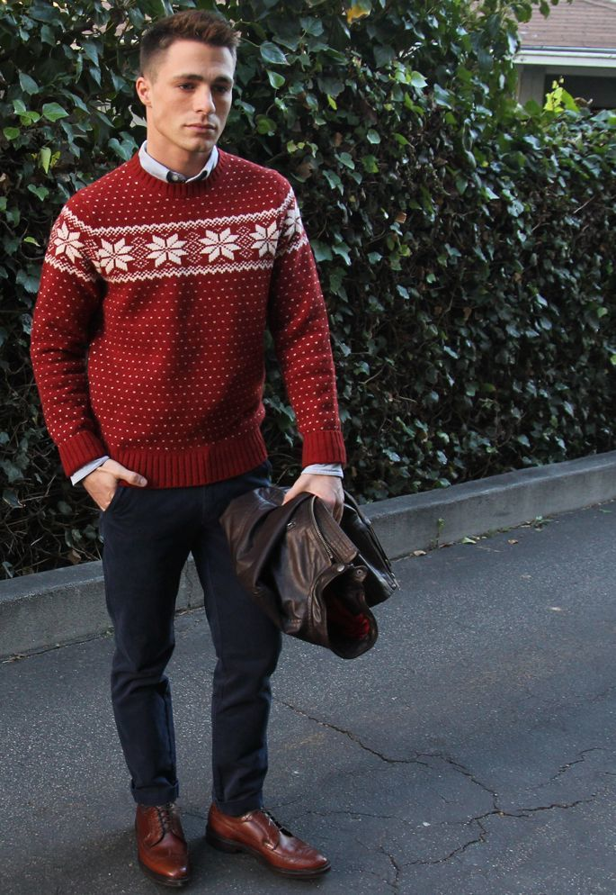 Men's Dark Brown Leather Bomber Jacket, Red Fair Isle Crew-neck ...