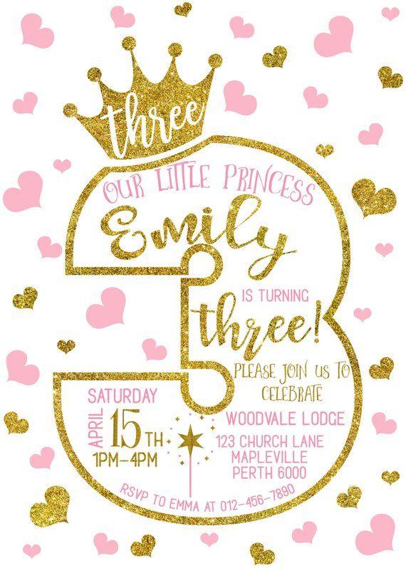 3rd birthday invitation third princess birthday invitation 1st 2nd