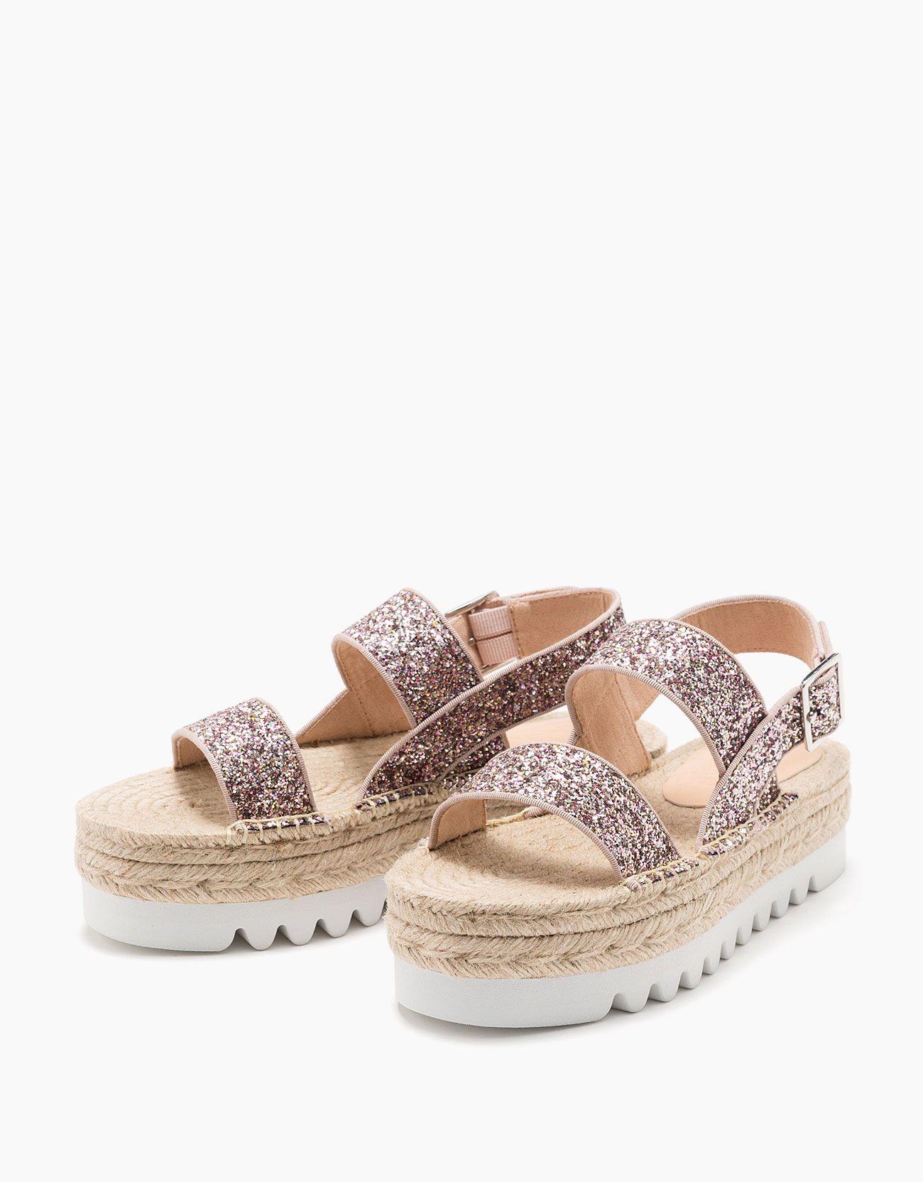 1da31c2f Sandalia plataforma yute de purpurina | Shoes... | Plataformas ...