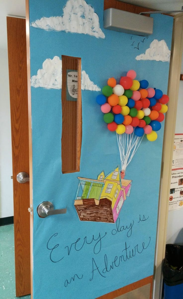 Montessori Classroom Decoration Ideas ~ Classroom door decor for spring up disney pixar