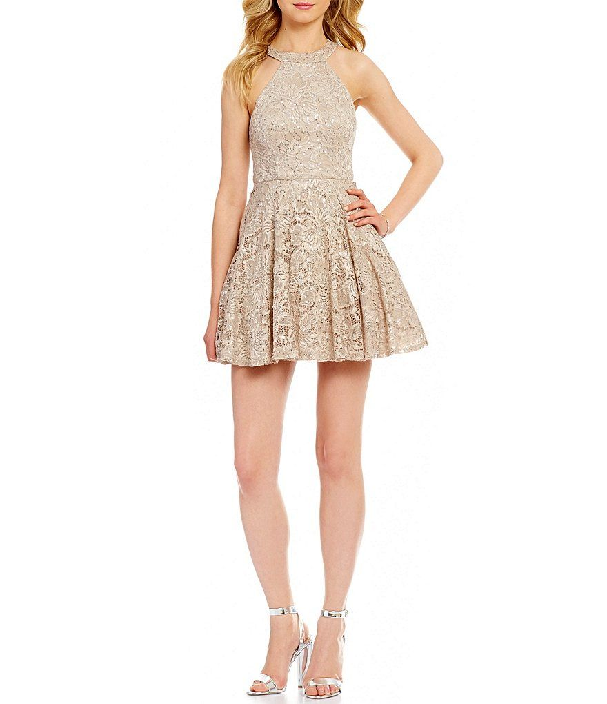 B darlin high neck sequin lace skater dress sequins dillards and