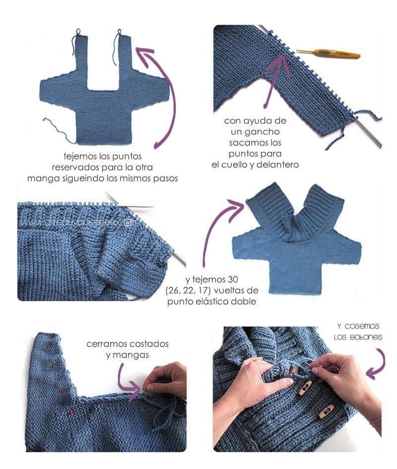 Cómo hacer una Chaqueta De Bebé a Dos Agujas -DIY- | Вязание спицами ...