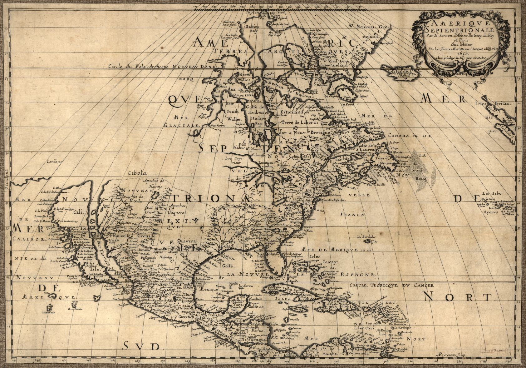 Map of North America by Nicolas Sanson (1600-1667) published ...