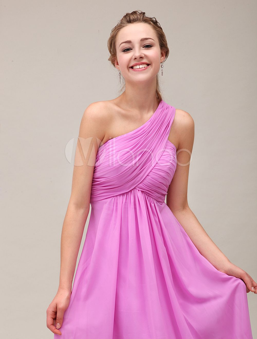 99cde38853d30 Fuchsia Pink Maternity Bridesmaid Dress One Shoulder Pleated Floor Length  Chiffon Wedding Party Dress Milanoo #Bridesmaid, #Dress, #Shoulder