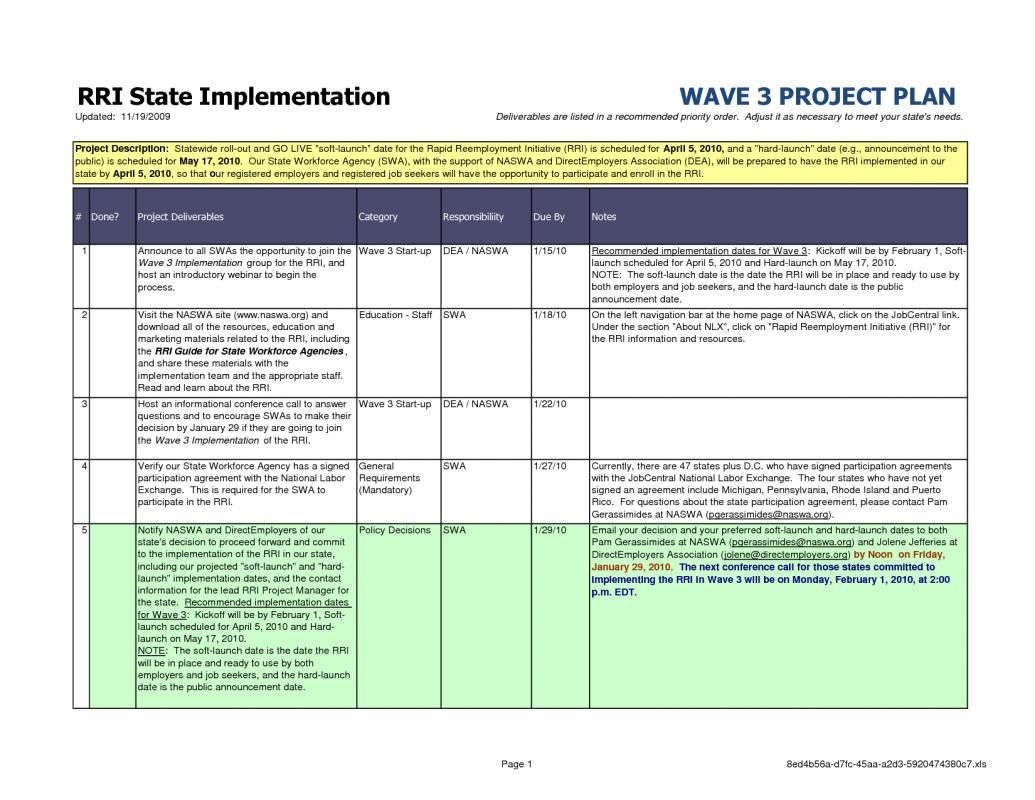 Sample Project Plan Template