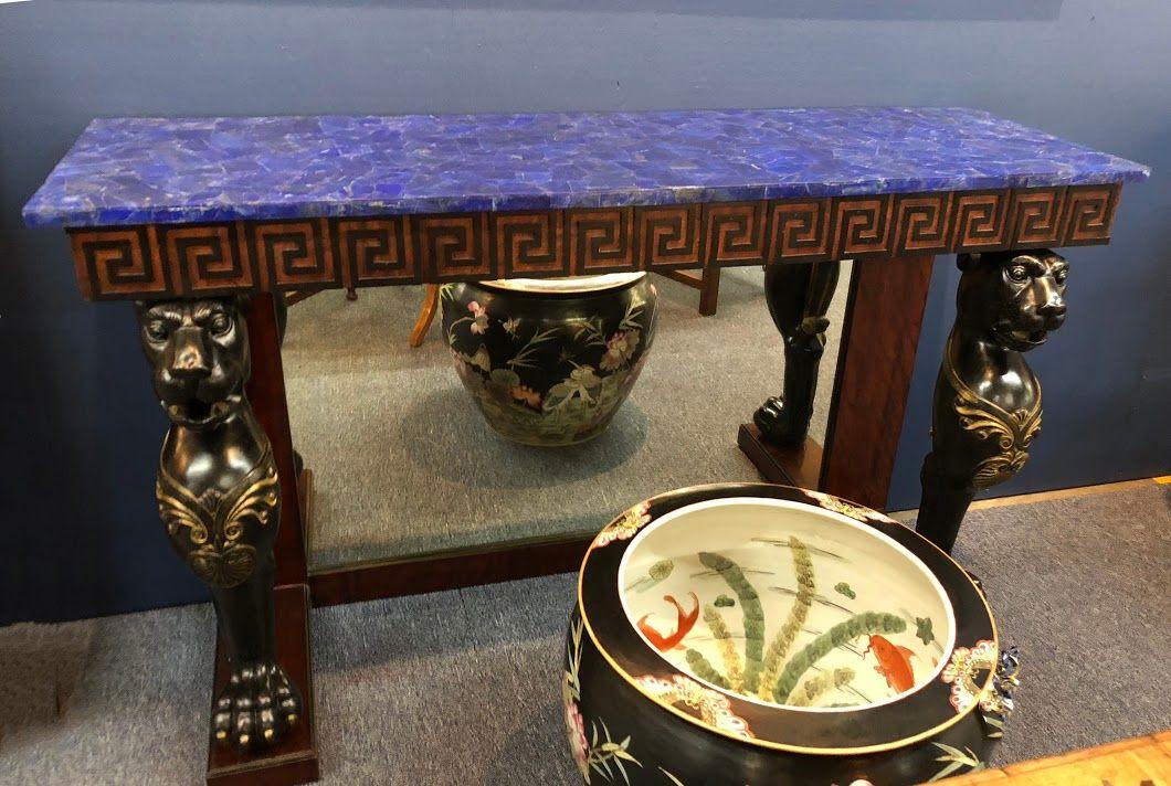 Antique furniture · French Empire Greek Key Trim Lapis Top Table Dealer  #932 58