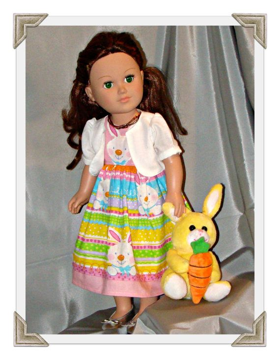 American Girl Doll Clothes; Easter Bunny Dress with Bolero Jacket ...