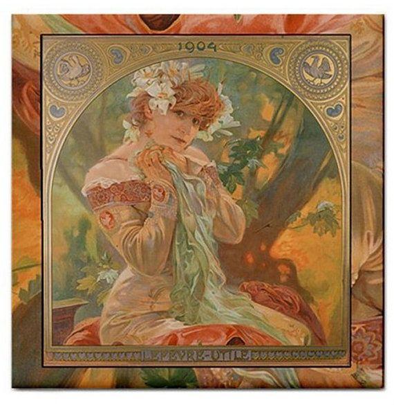 Alphonse Mucha Sarah Bernhardt Beautiful Ceramic Tile , $4.49