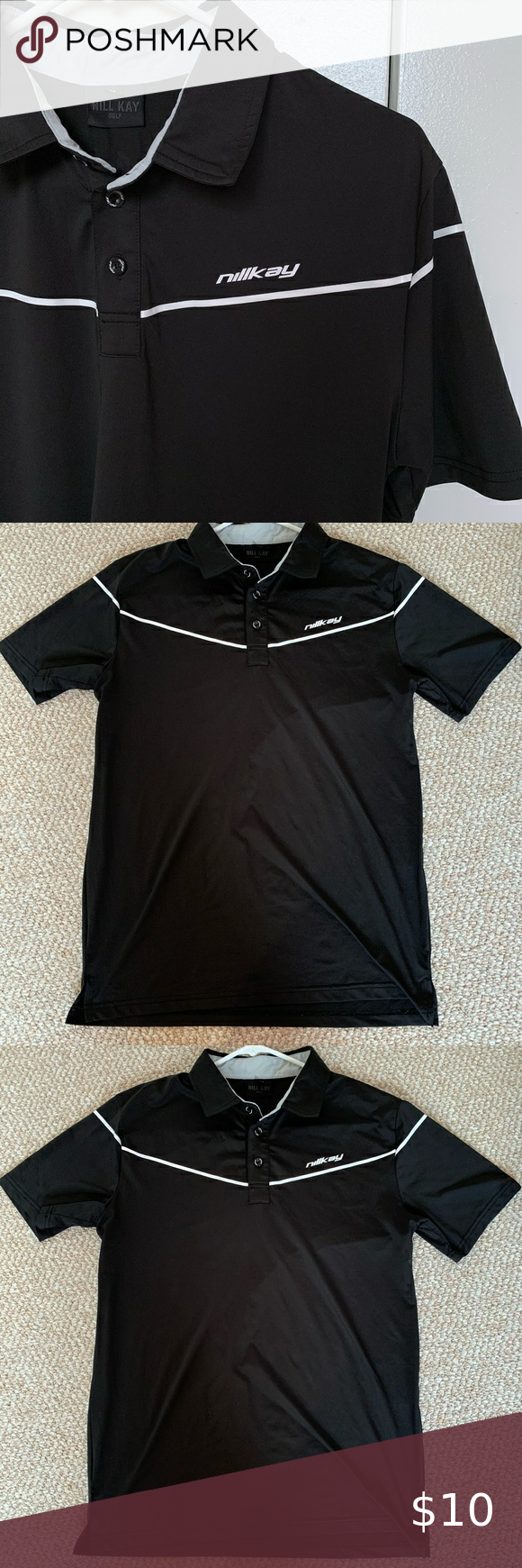 Nillkay Men S Golf Shirt Black Polo Shirt Golf Shirts Ralph Lauren Polo Shirts