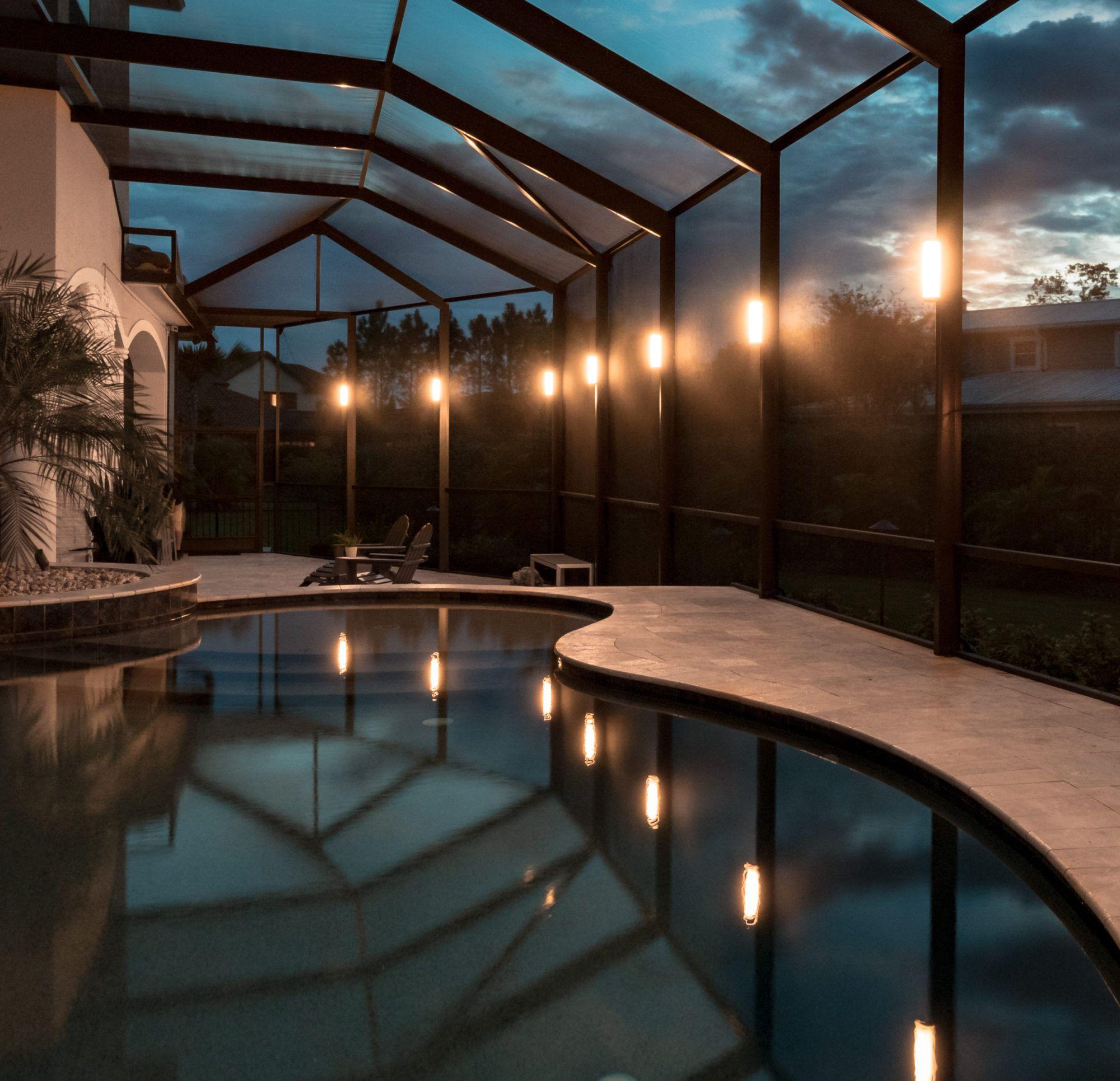 Elegant Led Lanai Lighting Pool Enclosure Lighting Florida S E Us Lanai Lighting Pool Cage Florida Pool