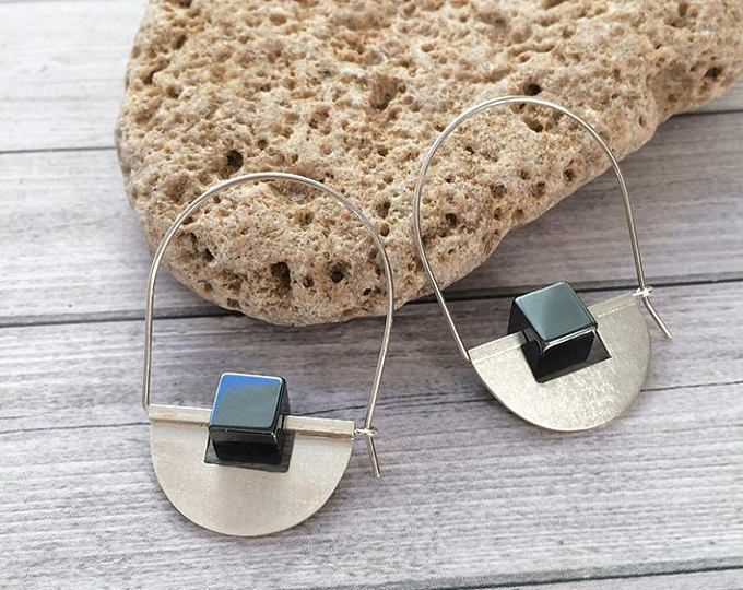 Sterling Silver hoop earrings -drop and dangle - half moon -tribal earrings -hematite cube stones