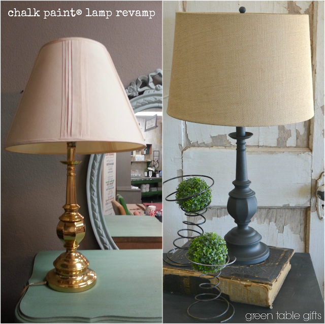Green Table Gifts Chalk Paint Lamp Revamp Painting Lamps Diy