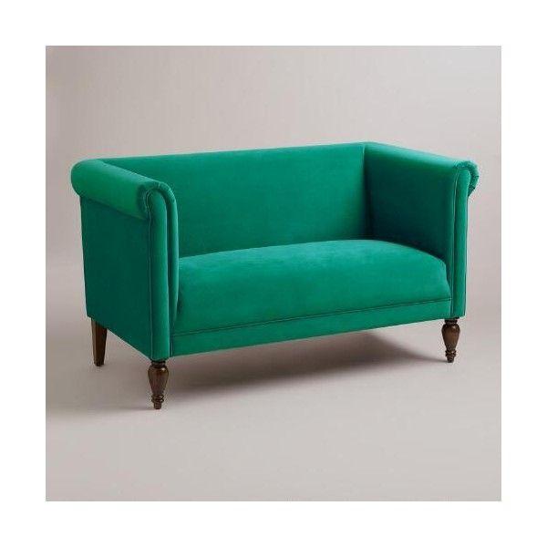 Cost Plus World Market Emerald Marian Loveseat Love Seat Green