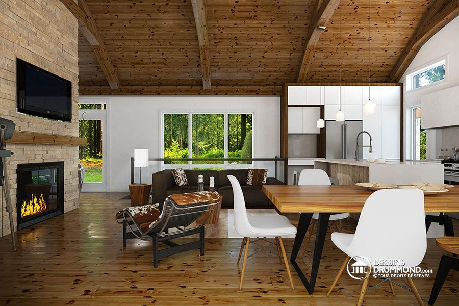 Plain-pied scandinave avec garage et terrasse abritée - nouveau plan - plan salon cuisine sejour salle manger