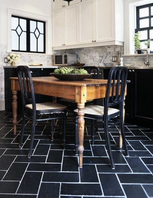 unusual kitchen flooring easy kitchen ive been enjoying the twotoned kitchens with black or grey lower cabinets and white on top the window details really pull it all together in this from faux bois to stenciled striped 10 cool unusual kitchen