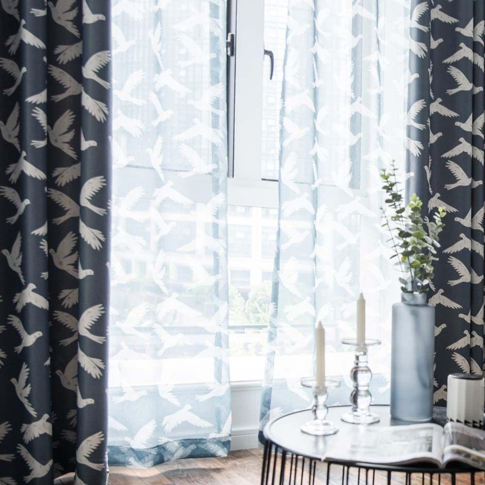 Gardinen mit Weißeb Tauben für Kinderzimmer Curtains