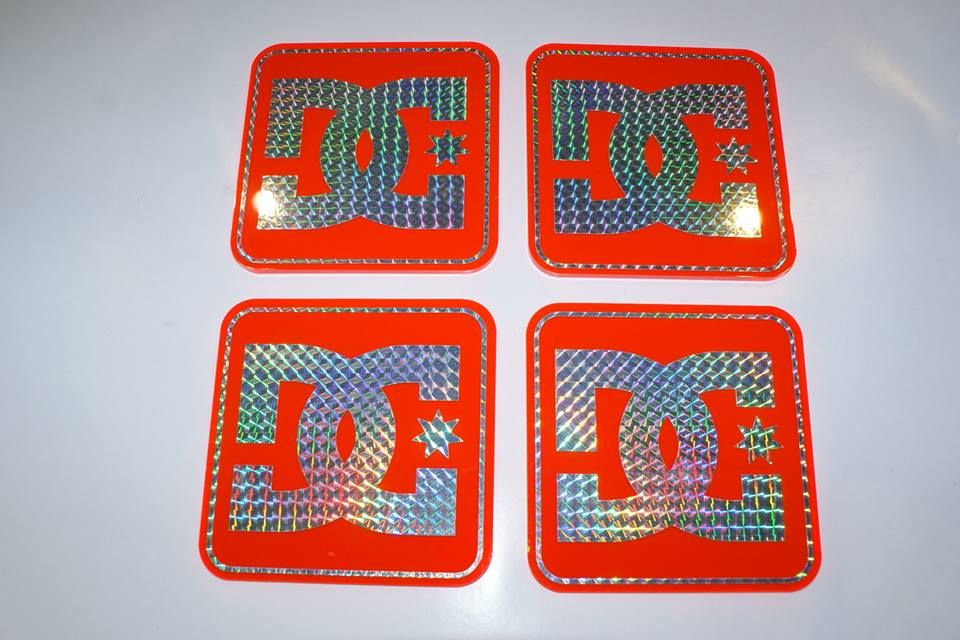 DC Shoe co 4 x Coasters on Orange Neon Perspex with Prism  graphics.. £14.95 + delivery ..see www.mojo-shop.co.uk for more details