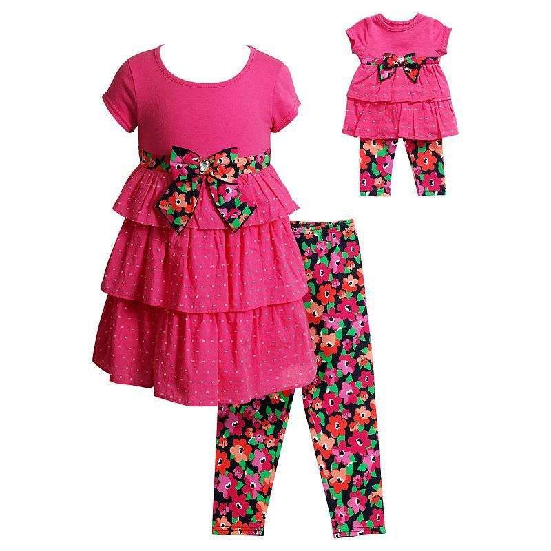 Dollie Me Girl 4-14 and Doll Matching Dress Floral Legging Outfit American Girl