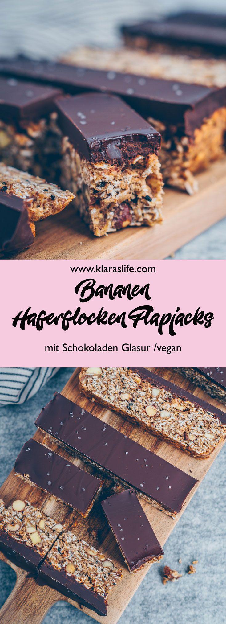 Bananen Haferflocken Flapjacks mit Schokoladenglasur - Klara`s Life #healthymarshmallows