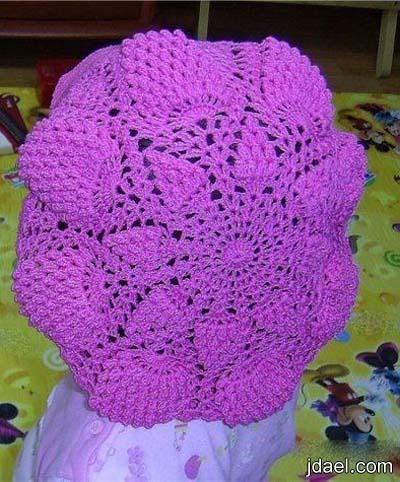 قبعات كروشيه بغرزة الاناناس للاطفال والكبار بالباترون منتدى جدايل Crochet Hats Crochet Hats