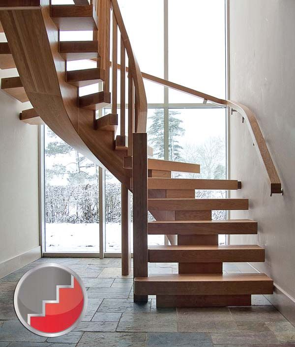 Wooden Staircases: Oak Curved X-vison Staircase