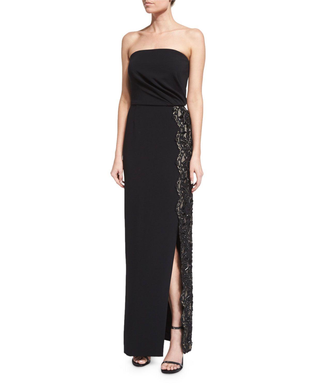 Strapless lacetrim column gown black pamella roland neiman