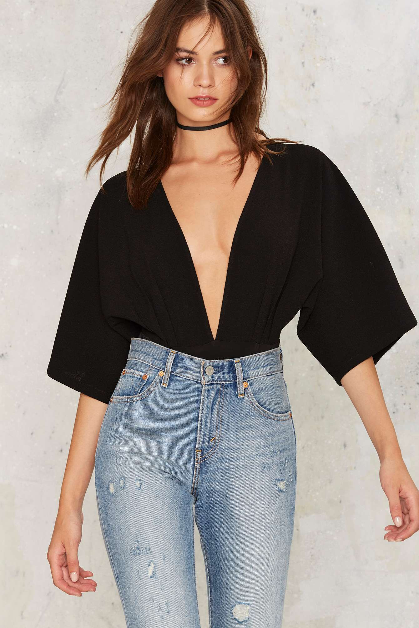 Lace bodysuit shirt  All Falls Down Plunging Bodysuit  Shop Clothes at Nasty Gal
