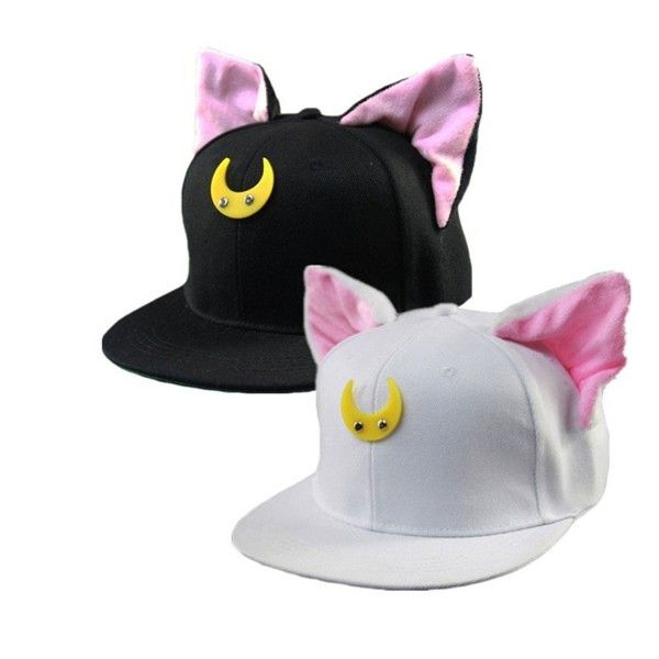 340a221865f Anime Sailor Moon Luna Cat Ears Hip-hop Hat Adjustable Baseball Cap ...